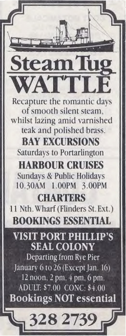 Newspaper ad for Wattle 1990