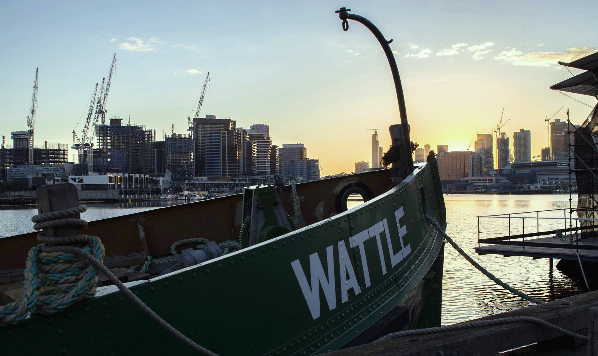 Melbourne city sunrise and a new day for Wattle, 2016 Jeff Malley