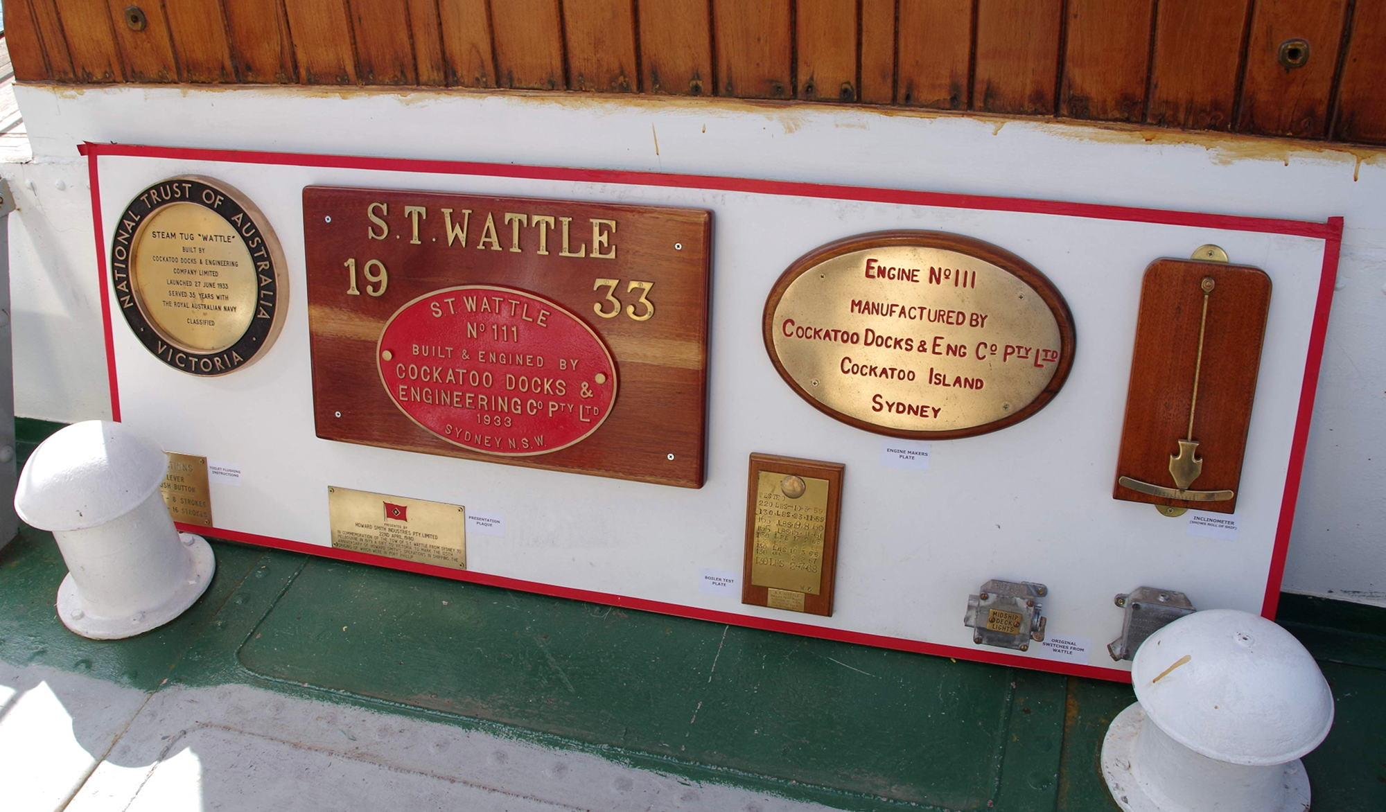 Builder's plaque and artifacts, February 2019, Jeff Malley