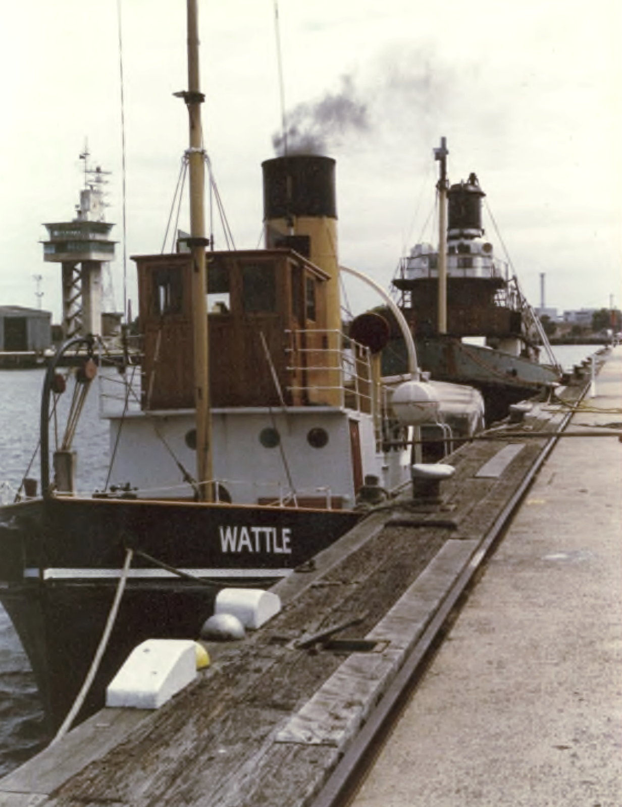 Wattle steaming up with Lyttelton II behind 1989, Jeff Malley